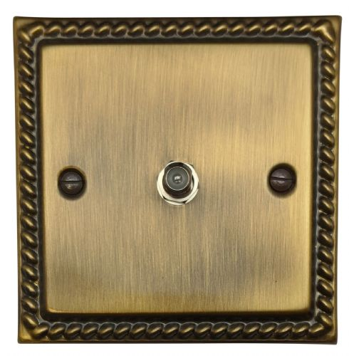 G&H MAB37 Monarch Roped Antique Bronze 1 Gang Single Satellite Point Socket